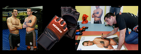 autographed mma gloves and gear